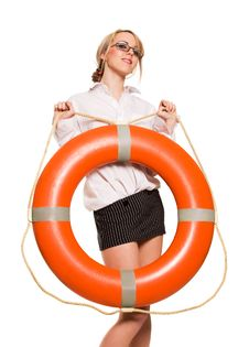 Free Businesswoman With Red Life Buoy Stock Image - 9505321