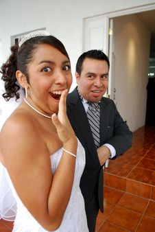 Free Funny Picture Of Bride And Groom Royalty Free Stock Images - 9505449