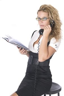 Free Blonde Business Woman Speaking By Telephone Stock Photo - 9505670