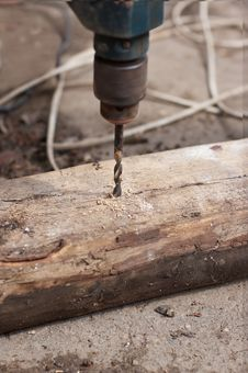 Drill Drilling  Wooden Board Royalty Free Stock Photo
