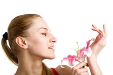 Free Nice Girl With A Pink Lily Royalty Free Stock Images - 9508859