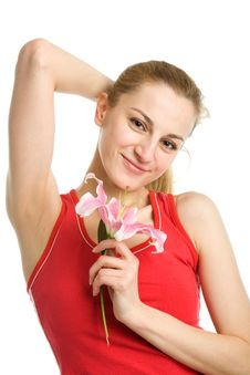 Free Nice Girl  With A Pink Lily Stock Image - 9508891