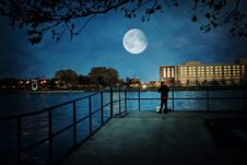 Free Moon On Sky Over City Royalty Free Stock Photos - 95031238