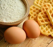 Free Waffles And Ingredients Stock Photography - 95031352