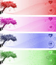 Free Silhouette Of A Love Heart Tree With Curls Stock Images - 9512524