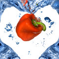 Free Red Pepper With Shape Of Heart From Blue Water Royalty Free Stock Photo - 9514885