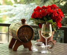 Free Wine With Begonia Stock Image - 9510351