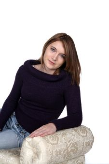Free Pretty Teen With Black Sparkling Sweater On Bench Stock Photography - 9510942