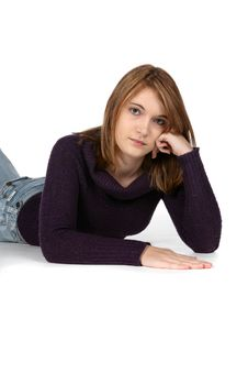 Free Pretty Teen On Belly With Black Sweater Stock Image - 9510951