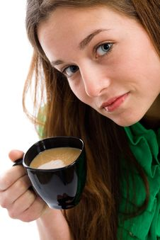 Free Woman With Coffee Cup Royalty Free Stock Images - 9511249