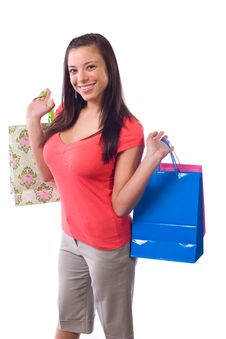 Free Woman Holding Shopping Bags Royalty Free Stock Photography - 9511457