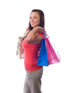 Free Woman Holding Shopping Bags Royalty Free Stock Photos - 9511468