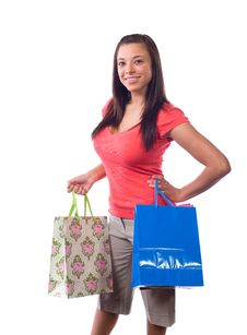 Free Woman Holding Shopping Bags Royalty Free Stock Photo - 9511575