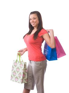 Free Woman Holding Shopping Bags Stock Image - 9511631