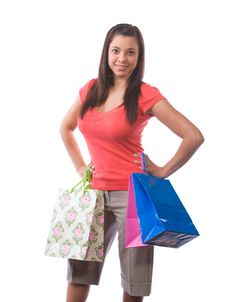 Free Woman Holding Shopping Bags Stock Photos - 9511833