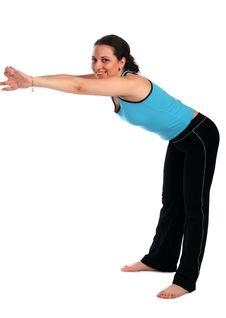 Brunet Sport Girl Stretchs Forward Royalty Free Stock Photo