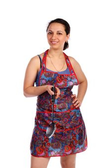 Free Young Housewife With Ladle Stock Photo - 9512090