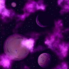 Free Space Landscape With Planets And Stars Royalty Free Stock Image - 9512706
