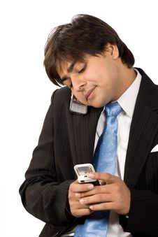 Very Busy On Cell Phone Royalty Free Stock Photos