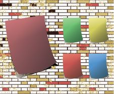 Free Sticky Note On T Dirty Brick Wall Raster Royalty Free Stock Photo - 9513985