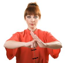 Free Young Woman Makes Chinese Greeting Gesture Stock Images - 9514084