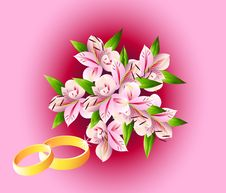 Free Wedding Bouquet With Rings Royalty Free Stock Photography - 9514677