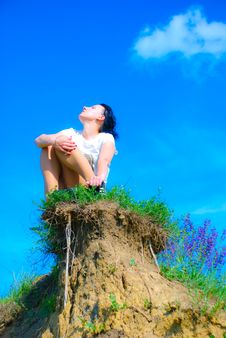 Free Girl On Hill Stock Photography - 9517952