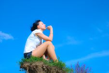 Girl On Hill Stock Image