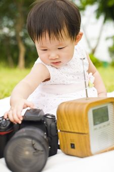 Free Portrait Of A Infant Girl Outdoor In The Park Stock Images - 9519494