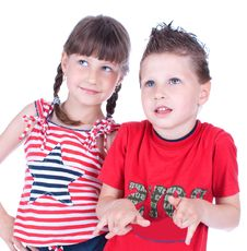 Free Cute Blue-eyed Boy And Girl Posing Royalty Free Stock Photos - 9519508