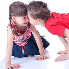 Free Cute Blue-eyed Boy And Girl Are Playing Royalty Free Stock Photo - 9519525