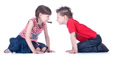 Free Cute Blue-eyed Boy And Girl Are Playing Royalty Free Stock Photography - 9519537