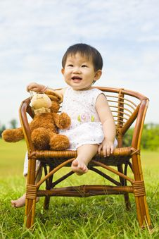 Free Portrait Of A Infant Girl Outdoor In The Park Stock Photos - 9519573