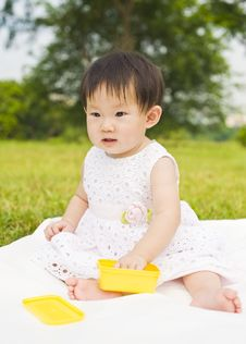 Free Portrait Of A Infant Girl Outdoor In The Park Stock Photos - 9519593