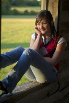 Free Teen Girl Sitting In Cabin Window Stock Photography - 9519672