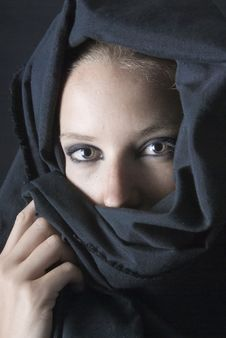 Arabian Woman With Black Veil Royalty Free Stock Images
