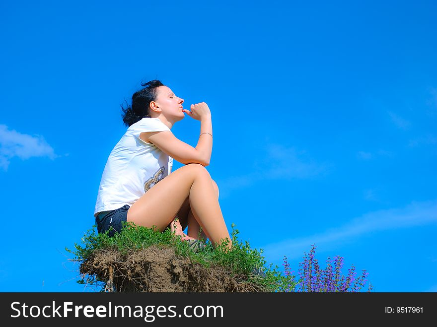 Girl on hill