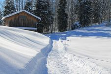 Free Path Through Snowy Yard Stock Image - 95108761