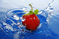 Free The Strawberries In Drop. Stock Photography - 9528232