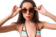 Free Female In Big Sunglasses Isolated Royalty Free Stock Image - 9520756