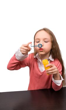 Free Little Girl Blow Bubbles Isolated Royalty Free Stock Images - 9520789