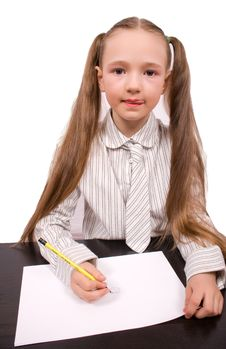 Little Girl Writing Or Drawing Isolated Royalty Free Stock Photo
