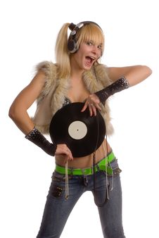 Free Happy Girl With Vinyl Record Over White Stock Photo - 9521440
