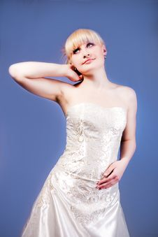 Blonde In Wedding Dress Stock Photography