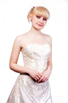 Young Blonde In Wedding Dress Stock Image