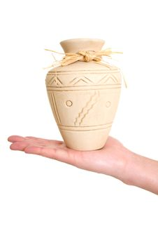 Clay Pot On Hand Royalty Free Stock Photo