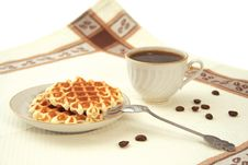 Free Still-life With Wafers And A Cup Of Coffee Royalty Free Stock Photos - 9523358