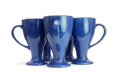 Free Five Blue Long Cups With Handles Out Stock Image - 9523641