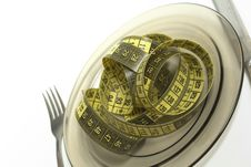 Free Plate With Measuring Tape Royalty Free Stock Images - 9525129