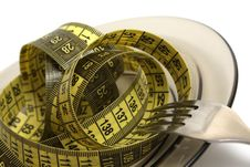 Plate With Measuring Tape Royalty Free Stock Image